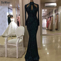 New Designer Green Gold Black High Neck Sexy Evening Dresses 2019 Sequined Long Sleeves Fashion Luxury Evening Gowns YeWen