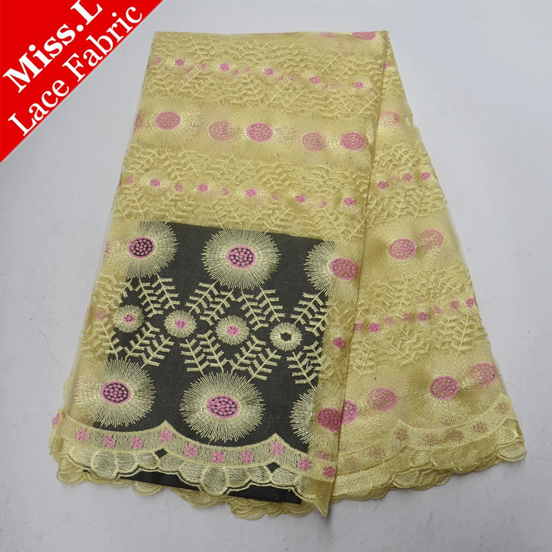 Various styles French Net lace fabrics high quality African lace fabric Embroidery with Stones 5 yards/pcs for Dress women