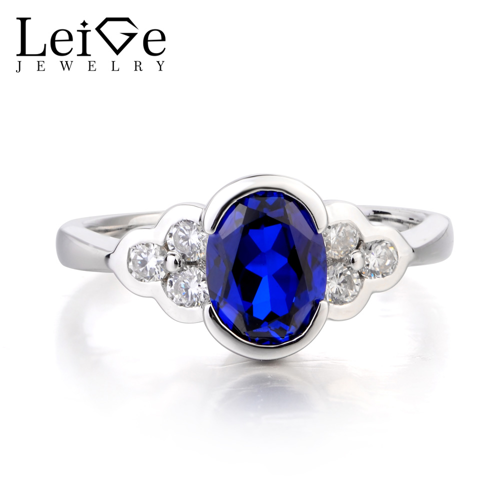 Leige Jewelry Cocktail Party Ring Sapphire Ring September Birthstone Oval Cut Gemstone 925 Sterling Silver Anniversary Gifts