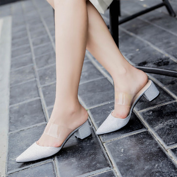 Half cool slipper 2018 spring and summer high heels and Muller shoes Tangle slippers Middle and lazy slippers Sandals