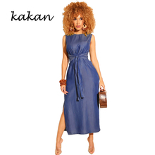 Kakan new womens dress sleeveless high slit denim dark blue light black