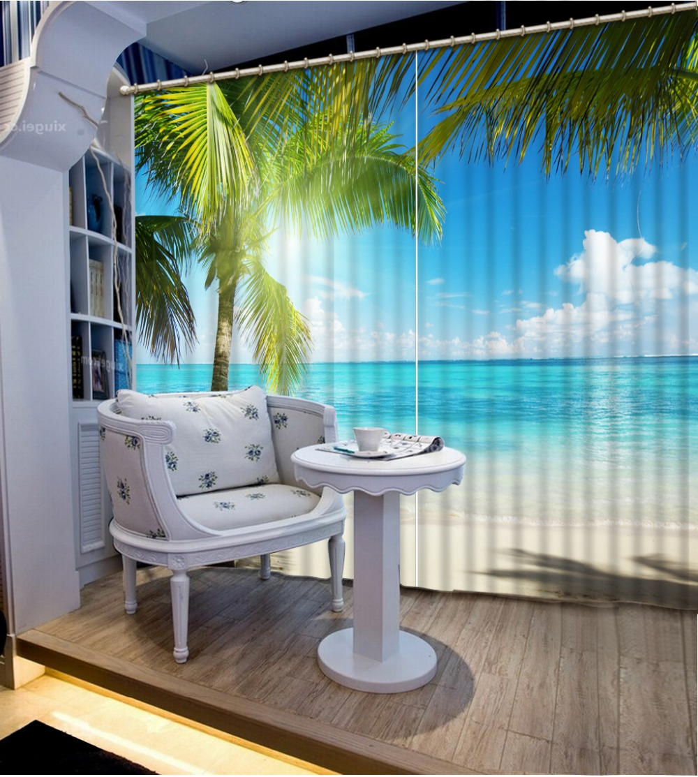 Beach Landscape Kitchen Living Room Bedroom For Window Curtain Coconut Tree  Living Room 3d Bedroom Curtains