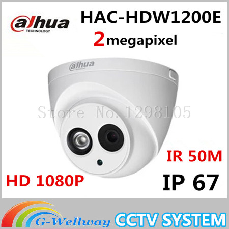 Dahua HDCVI Camera 2MP HD 1080P DH-HAC-HDW1200E Network IR Dome Security Camera CCTV IR distance 50m HAC-HDW1200E dahua hdcvi 1080p bullet camera 1 2 72megapixel cmos 1080p ir 80m ip67 hac hfw1200d security camera dh hac hfw1200d camera
