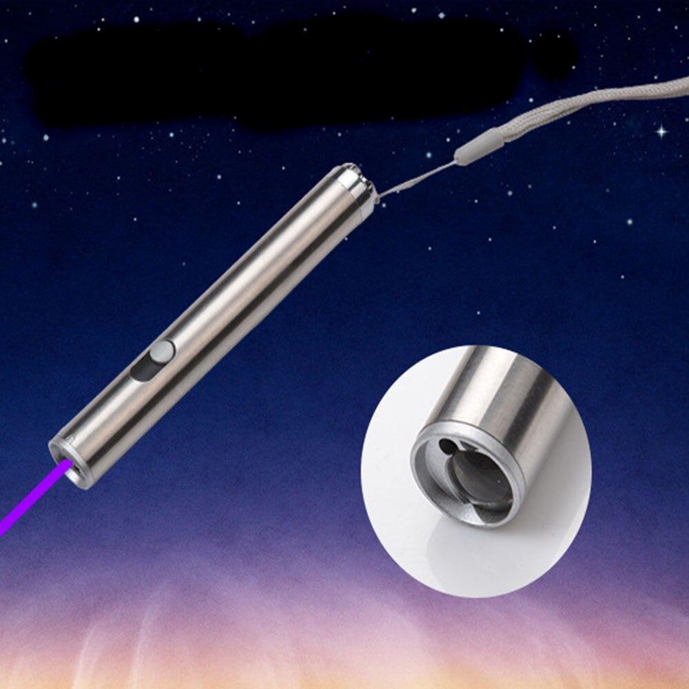 Mini lampe de poche multifonction: lumière UV + laser rouge + lumière blanche 3 in1 lampe de poche Portable en alliage d'aluminium porte-clés LED