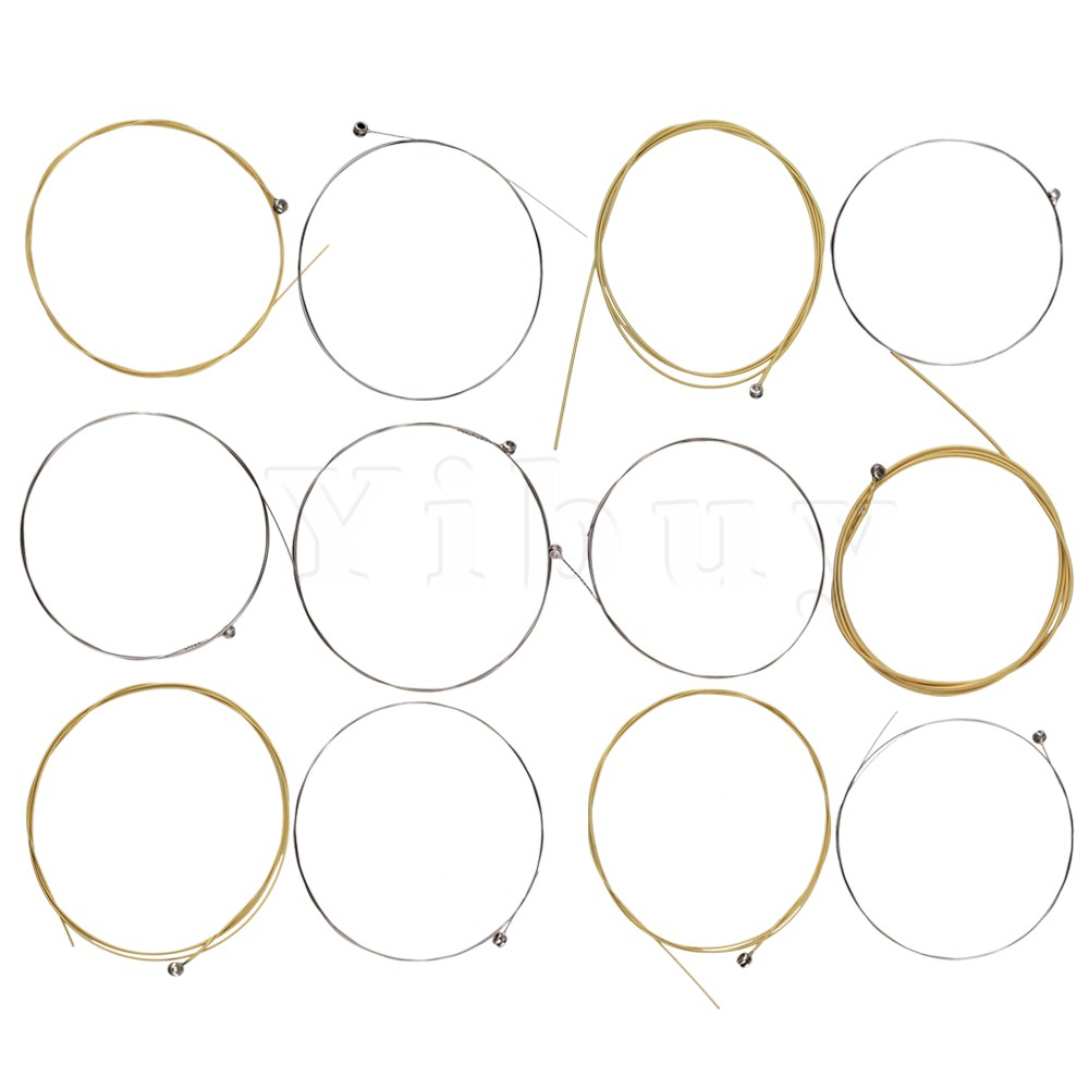 Yibuy 12x Gold Stainless Steel String Steel Core for Acoustic Guitar