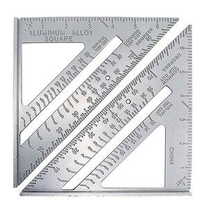 Image 4 - 1Pc Aluminum Alloy Speed Square Protractor Miter Framing Tri square Line Scriber Saw Guide Measurement Meter Carpenter Ruler