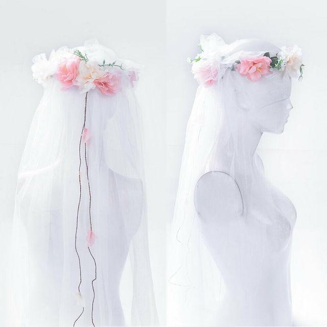 חתונה זרי רומנטי צעיף זר כלה כיסוי ראש חוף פרח כובע פיות טול רשת