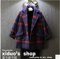 girls wool autumn winter coats plaid children kids child 2015 new arrival fashion cute European and American style