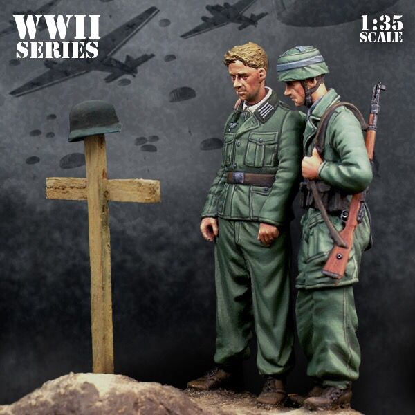 US $12 0 |1/35 Scale German paratroopers graves 2 People Miniatures WWII  Resin Model Kit Figure Free Shipping-in Model Building Kits from Toys &