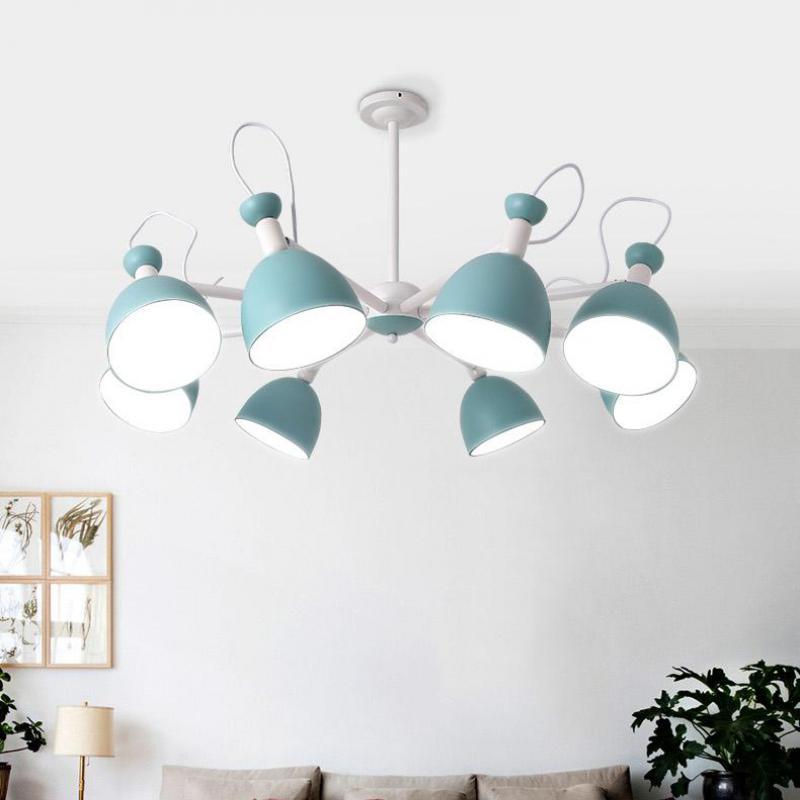 Apartamento de hierro azul lámpara techo accesorios para adolescentes dormitorio chico es iluminación escaparate juegos lámpara sombra mini E27 lustres