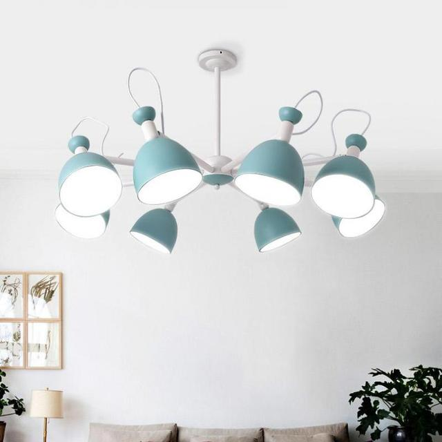 Apartment Blue iron chandelier ceiling fixtures for Teen's bedroom kid's lighting showcase playroom lampe shade mini E27 lustres