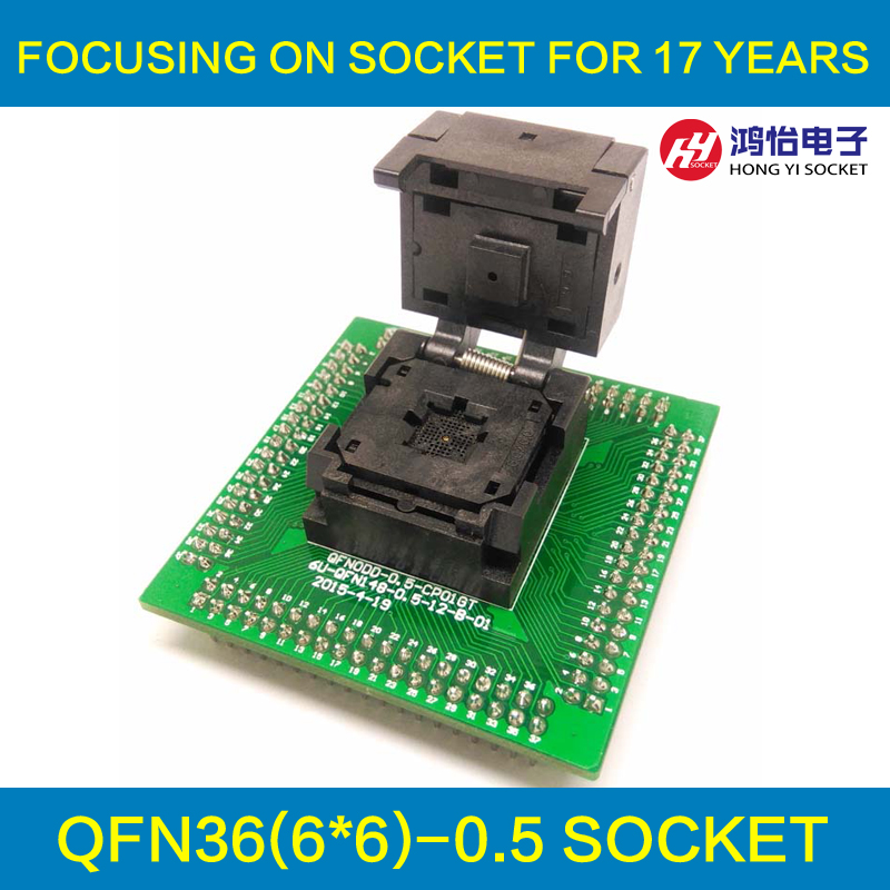 QFN36 MLF36 WLCSP36 to DIP36 Programming Socket Adapter Pin Pitch 0.5mm IC Body Size 6x6mm IC550-0364-016-G Test Socket fshh qfn32 to dip32 programmer adapter wson32 udfn32 mlf32 ic test socket size 3 2mmx13 2mm pin pitch 1 27mm