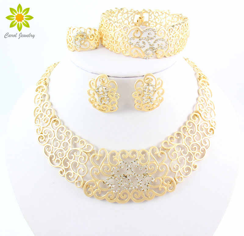 Vintage Hollow Crystal Flower Necklace Earrings Gold Color  African Dubai Wedding Costume Jewelry Sets For Women