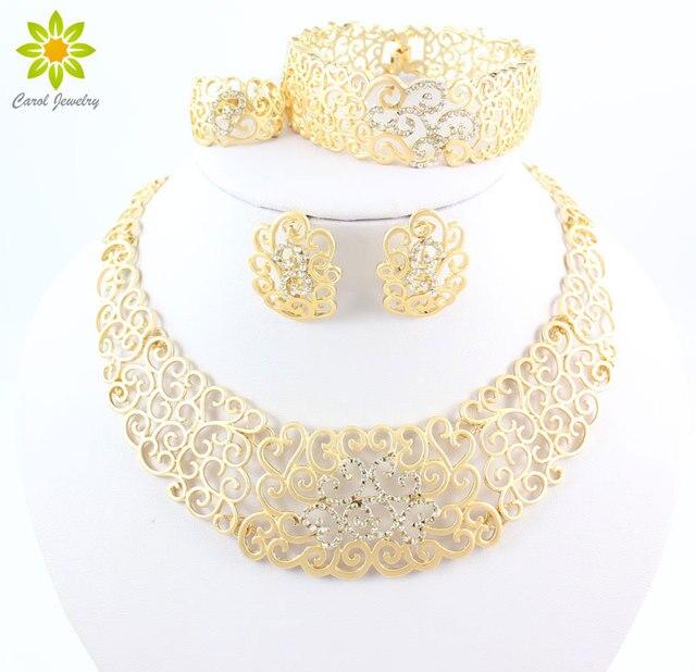 Hueco de la vendimia Collar de Flores de Cristal Pendientes Chapados En Oro de Dubai Africano Boda Conjuntos de Joyería de Fantasía Para Las Mujeres