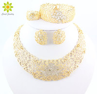 Vintage Hollow Crystal Flower Necklace Earrings 18K Gold Plated African Dubai Wedding Costume Jewelry Sets For