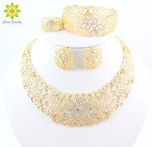Hueco de la vendimia Collar de Flores de Cristal Pendientes del Color del Oro de Dubai Africano Boda Conjuntos de Joyería de Fantasía Para Las Mujeres