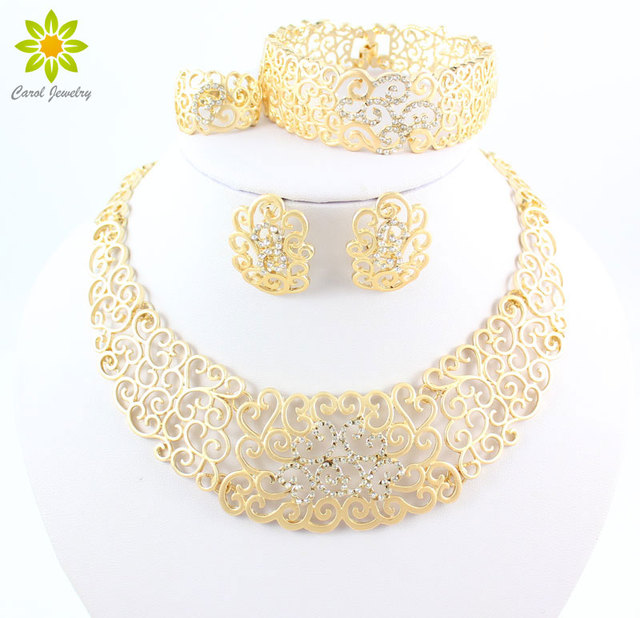 Vintage Hollow Crystal Flower Necklace Earrings Gold Plated African Dubai Wedding Costume Jewelry Sets For Women