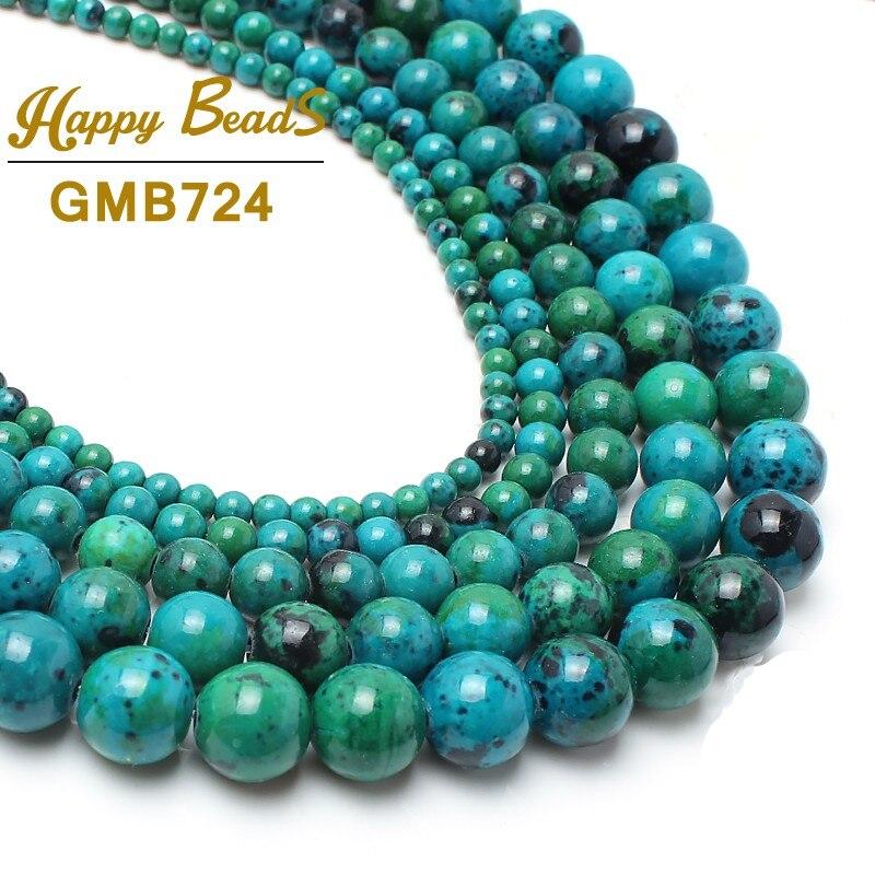 """Chrysocolla piedra Redonda Suelta Spacer Beads 15 """"6mm 8mm 10mm 12mm 14mm Tamaño de la selección para la fabricación de joyas pulsera DIY Envío Gratis"""