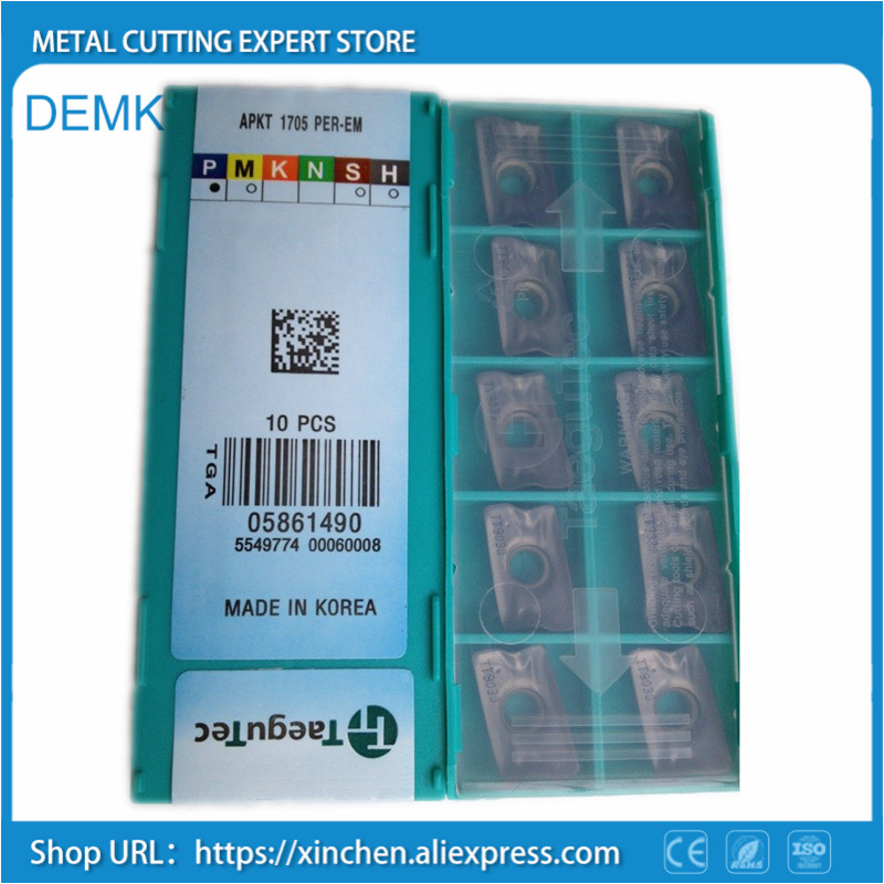 Knife APKT1705PER-EM TT9030 10pcs for Taegutec CNC Face milling cutter Carbide blade processing Stainless steel and steel yw1 4160511 zhuzhou zccct cemented carbide 30pcs box milling machine clip blade square face milling cutter for stainless steel