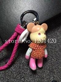 2016 New  Crystal cute bear  key chain  key ring Women handbag  bug charm  car key chains Top Quality    colorful