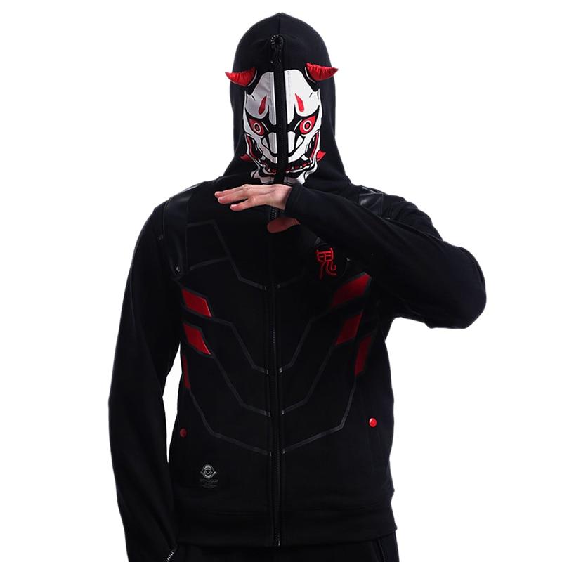 Game OW Cosplay Hoodies Full Zip Mask Genji Hoodies Evil Ghost Genji Sweatshirts Mens Reaper Casual Clothes Cosplay Costume
