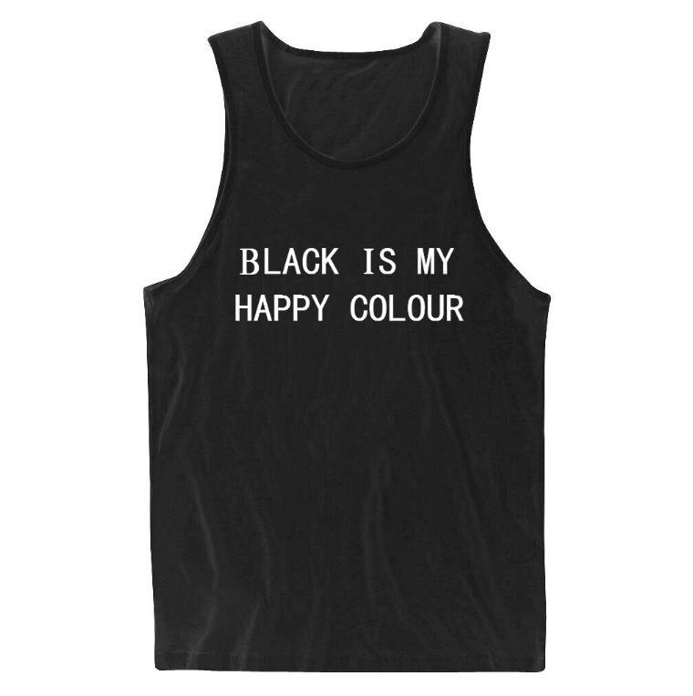 Fekete az én boldog színes betűk Női T-felső nyári mellény - Női ruházat