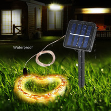 10M100led Outdoor String Light Solar Copper Wire light strip Xmas New Year Decor Holiday Lamp Christmas Tree Decoration Ornament