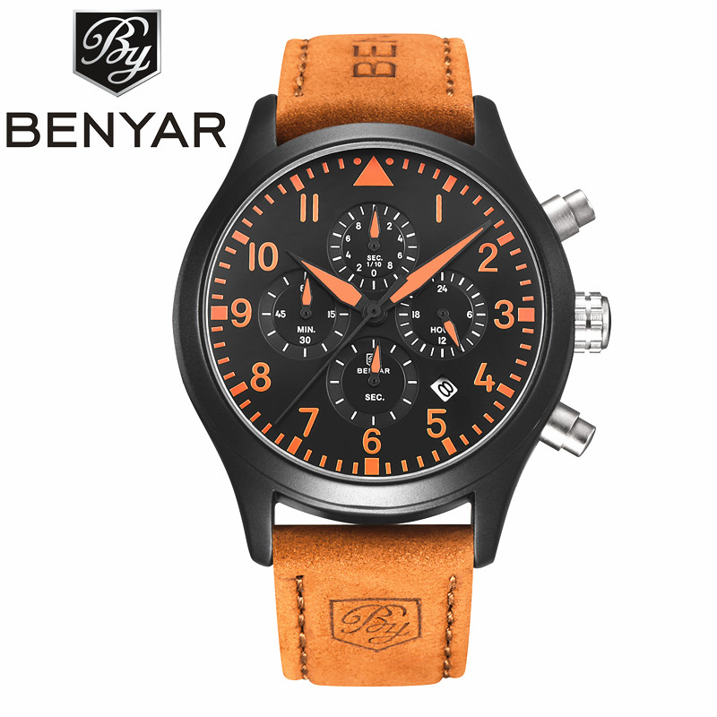 Relogio Masculino Mens Watches Top Brand Luxury BENYAR Men Military Sport Luminous Wristwatch Chronograph Leather Quartz Watch mens watches top brand luxury skmei men military sport luminous wristwatch chronograph leather quartz watch relogio masculino