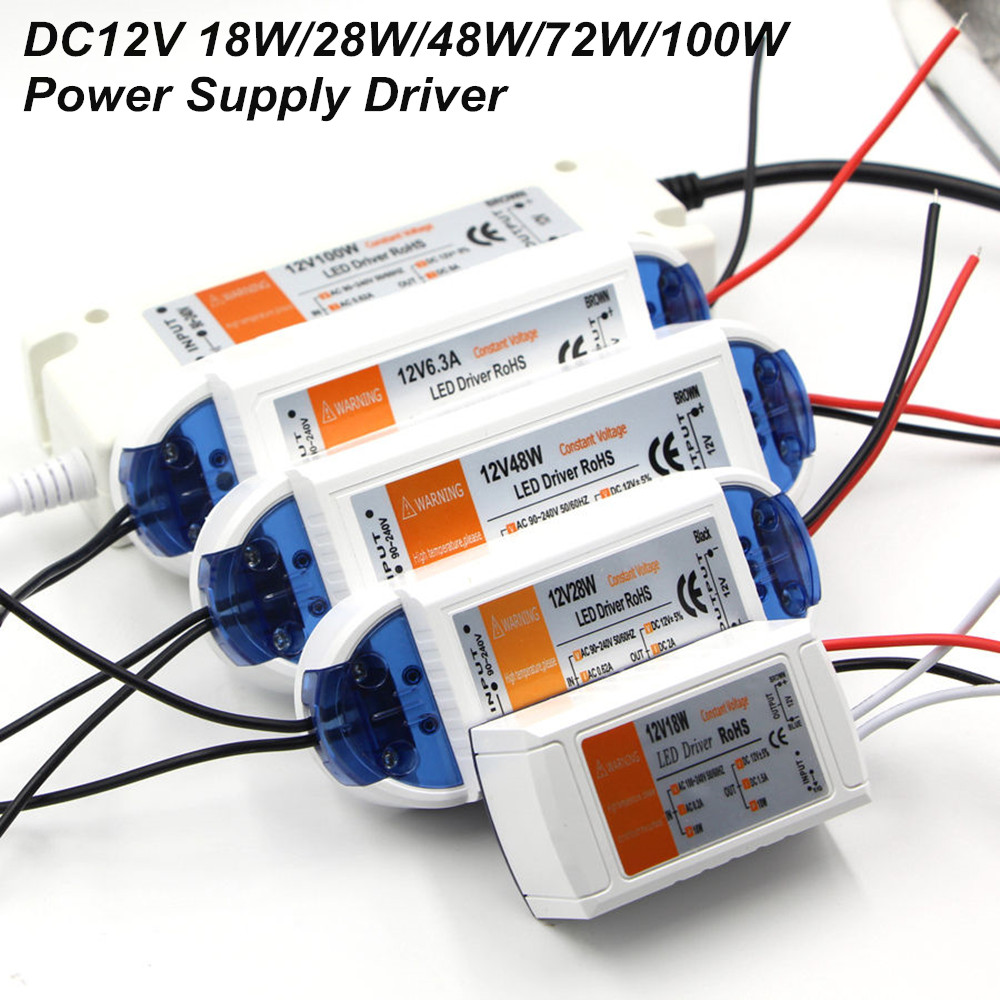 DC12V strømforsyning LED-driveradapterbelysning 18W / 28W / 48W / 72W / 100W transformatorbryter for LED Strip LED-lys