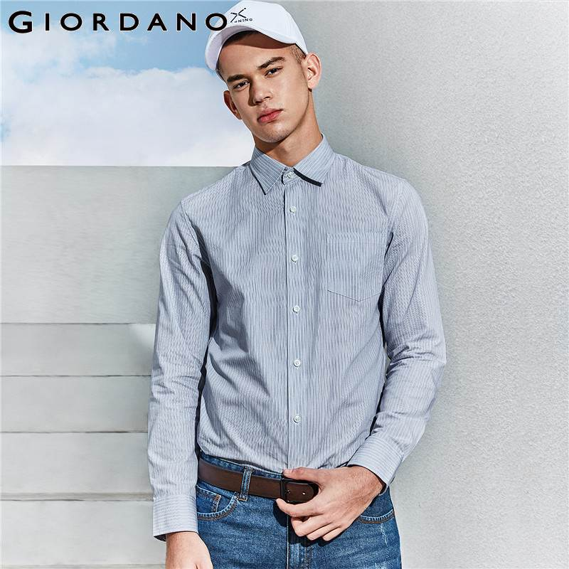 Giordano Men Casual Shirt Brand Men Shirts Social Smart Shirt Male Long Sleeve Man Clothing Camisas Masculina-in Casual Shirts from Men's Clothing