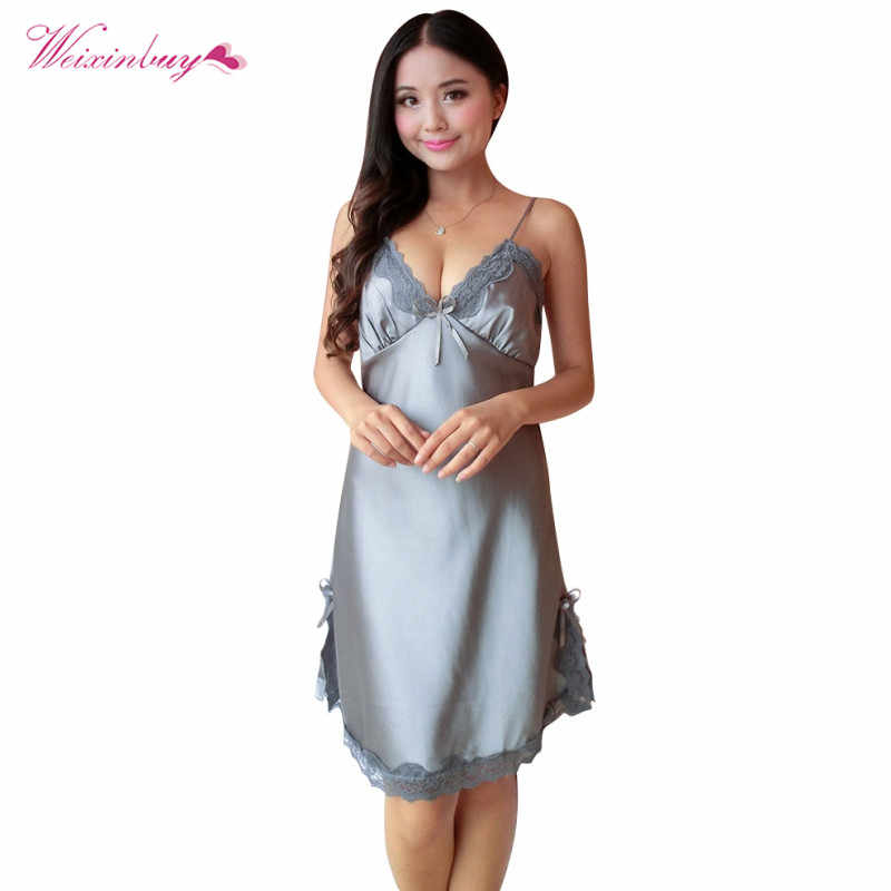 106e705f1d Women s Nightgown Plus Size Ladies Sexy Silk Satin Night Dress Sleeveless  V-neck Nightwear Lace