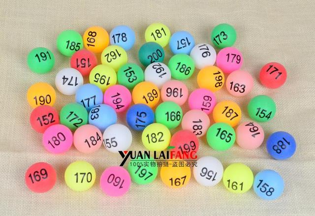 No.1-200 game ball Lottery ball with number tennis colorful digital balls