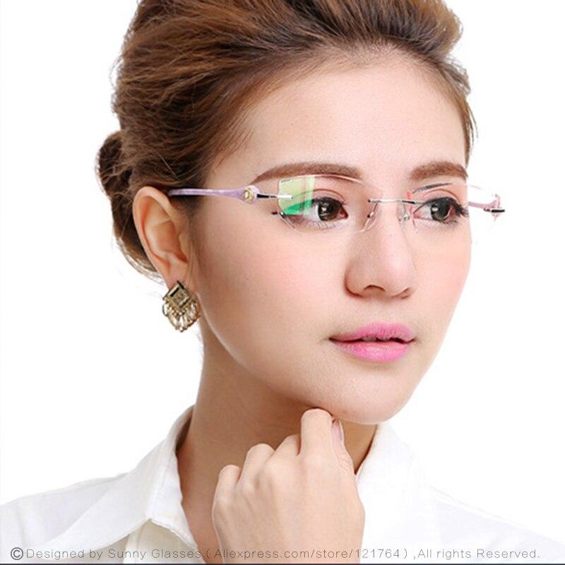 New Fashion Brand Designer Eyeglasses Rimless Women