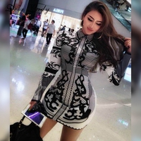 Deer Lady Christmas Party Dresses 2017 Mini Dress Sexy Club Wear Black Bodycon Long Sleeve Dress