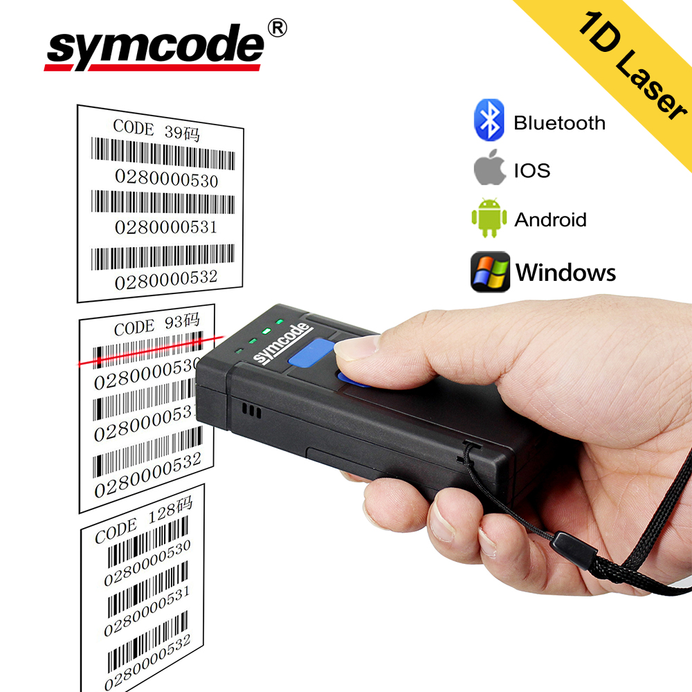 Bluetooth Barcode Scanner 1D Laser Portable USB Bluetooth 2.4G Wireless Barcode Reader Wireless Transfer Distance 100 Meters