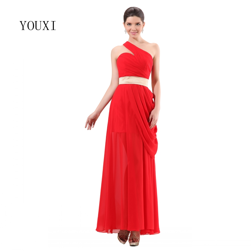 Red Chiffon Sexy One Shoulder Long   Prom     Dresses   2019 Formal Evening Party Gowns
