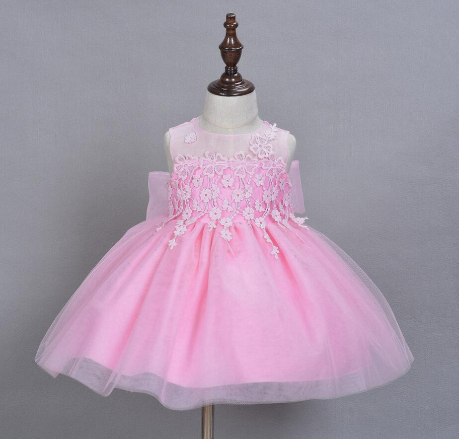 1PC Pink White Red Baby Girl Lace Flower Dresses Princess Wedding ...