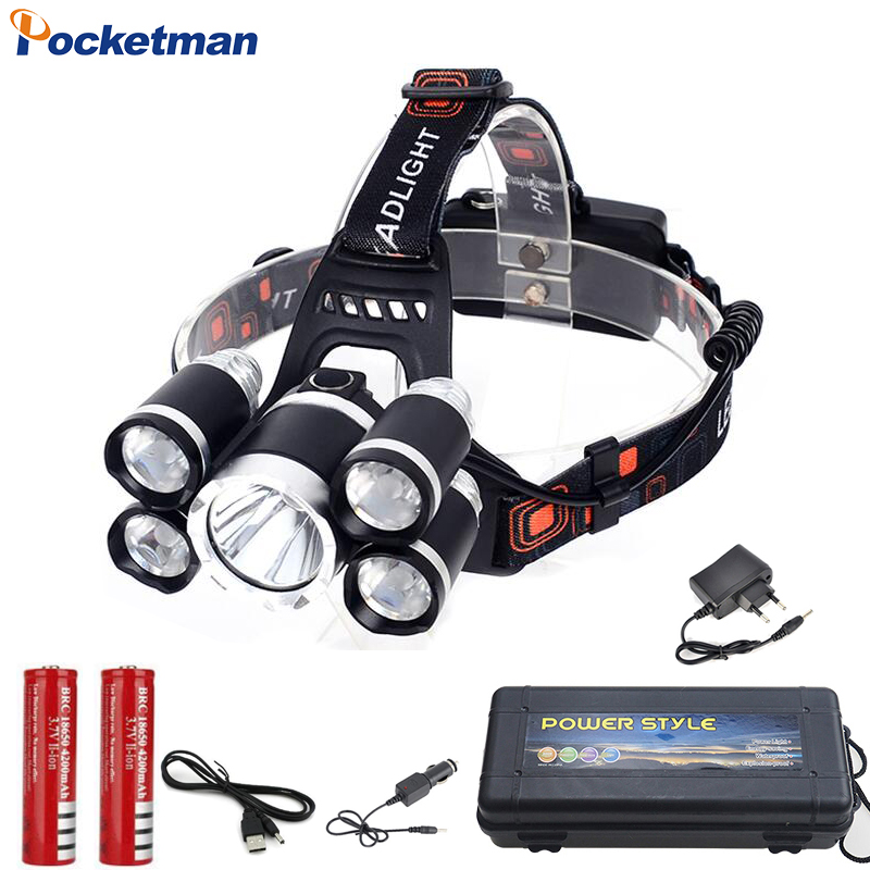 2018 HOT 15000Lm XML T6 5 LED Headlamp Head light lamp 4 mode torch 2x18650 battery Car charger for fishing Headlight z30 3 xml t6 2 blue light led headlamp 15000lm usb rechargerable led headlight head lamp 5 mode head torch for fishing lantern light