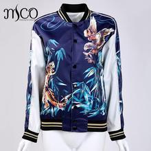 2016 Brand Women Casual Long Sleeve blue Full button Up Tiger hawk Flower print Bomber baseball Jaqueta Jas sukajan Jacket Coat