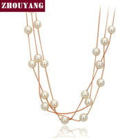 Top Quality Vintage Elegant Imitation Pearl 18K Rose White Gold Plated Necklace Jewelry Wholesale ZYN342 ZYN343