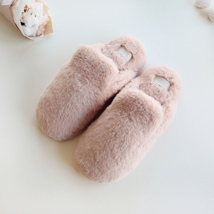 Image 3 - Lovely Faux Rabbit Fur Winter Women Home Slippers For Indoor Bedroom House Soft Bottom Cotton Warm Shoes Adult Guests Flats