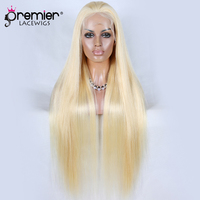 Premier Blonde Human Hair Full Lace Wigs 613# Bleached Blonde Chinese Virgin Human Hair Lace Wigs Silky Straight [FLW 613 SS]