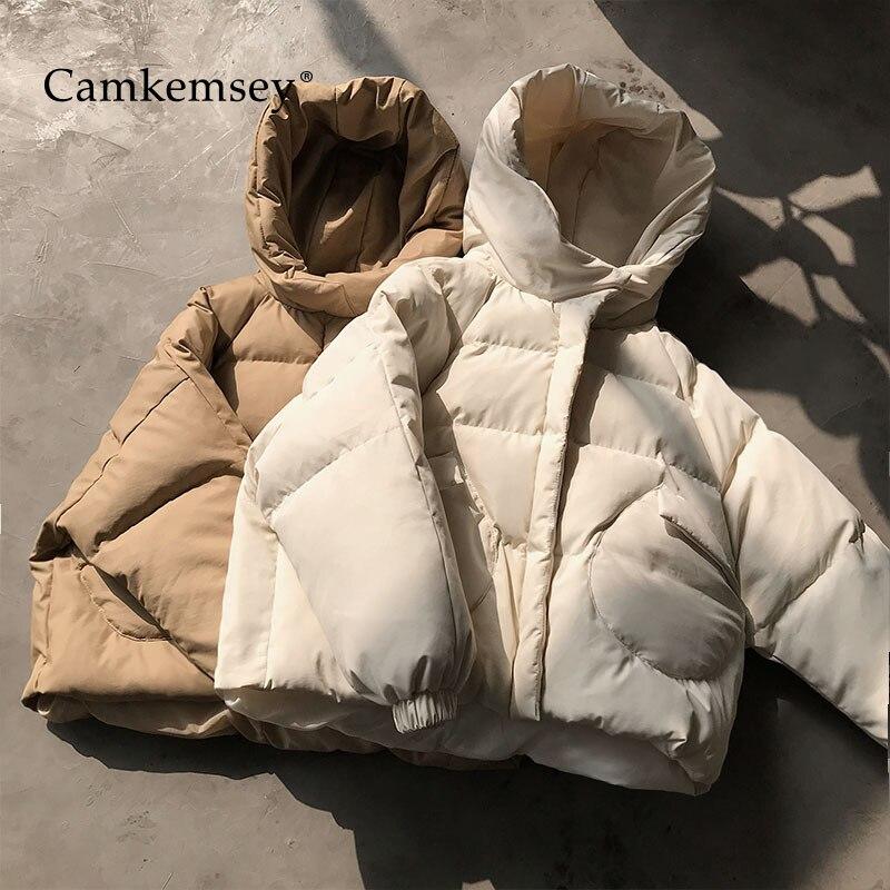 CamKemsey Thick Warm Hooded Winter Coats Women Autumn Fashion Round Pockets Down Cotton Padded Winter   Parkas   Coats 2019