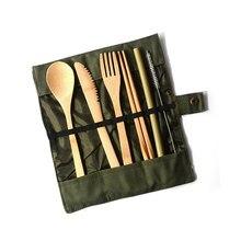 6 шт./компл. набор столовых приборов японский деревянный с тканевой сумкой бамбуковые шпажки щетка для ножа соломенные столовые приборы для ложки и палочек инструменты для приготовления пищи