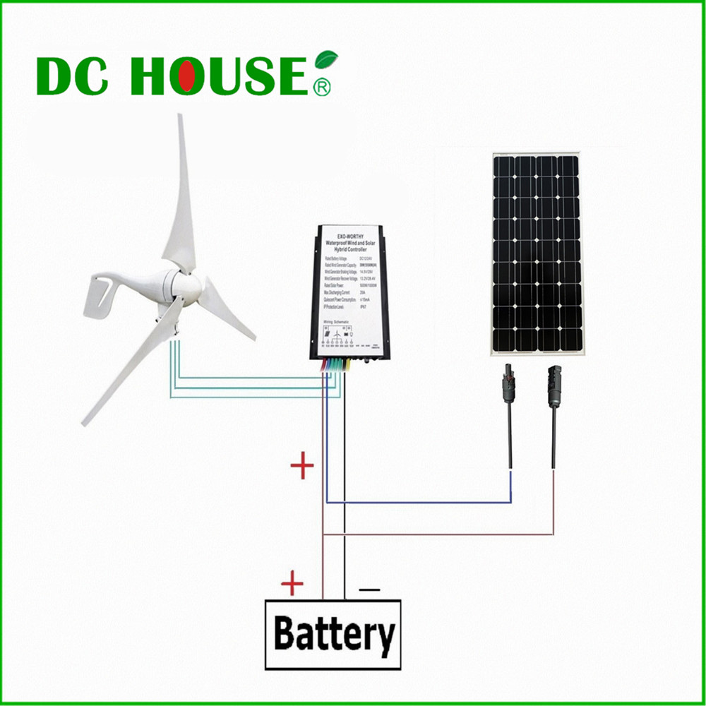 USA UK Stock 400W Watts Wind Turbine Generator  160W Mono Solar Panel 560W/H Off Grid DC12V usa stock 880w hybrid kit 400w wind turbine generator