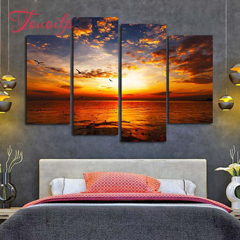 Blue Color Sunset Lake View Football Fire Tree Drill Embroidery Diy Cross Stitch Living Room Painting Mural Cross-stitch