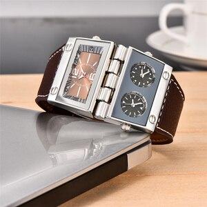 Image 5 - Oulm montre bracelet de Sport pour hommes, trois zones horaires 2 cadrans, grand cadran à Quartz, montre de style militaire, décontracté