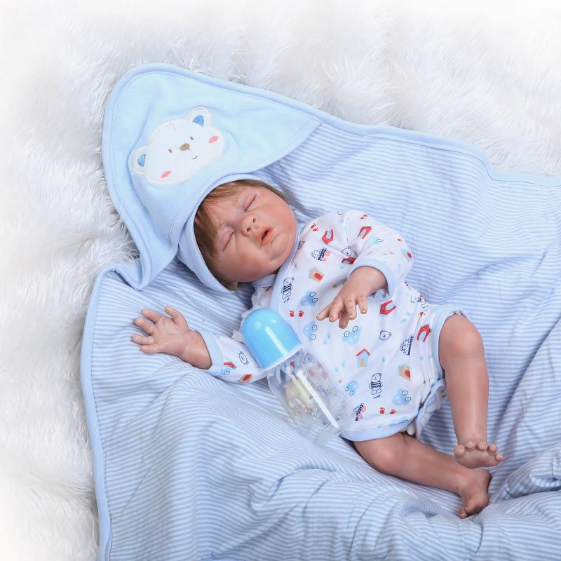 Full Body Silicone Baby Boy Doll 20inch Doll Reborn Baby Doll Boneca BeBe Reborn Doll Juguetes Brinquedos Toys for Girl Gifts