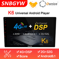 Ownice K6 8 Core Android 8.1 2 Din Car Radio 9 10.1 Auto Autoradio Player Vedio GPS DSP Support 4G SIM Card AHD Camera DH241