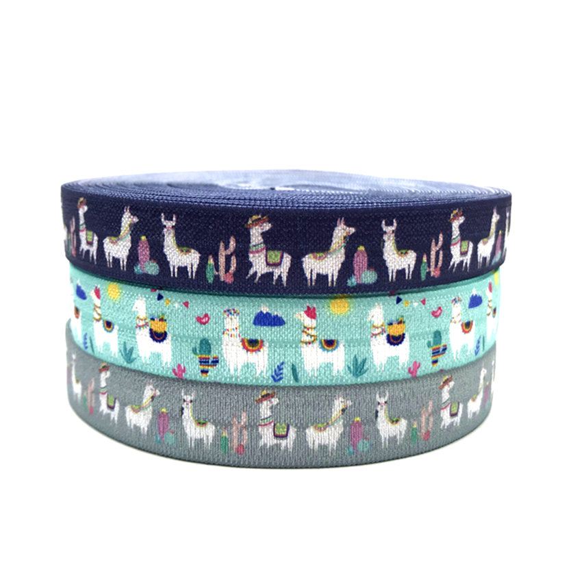 FOE Fold Over Elastic Custom Print Cartoon Sheep Llama Ribbon 10Y 15mm DIY Stretch Handmade Hair Band Party Wedding Decoration